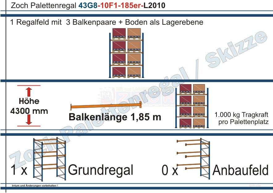 Palettenregal 43G8-10F1 Länge: 2010 mm mit 1000 kg je Palettenplatz