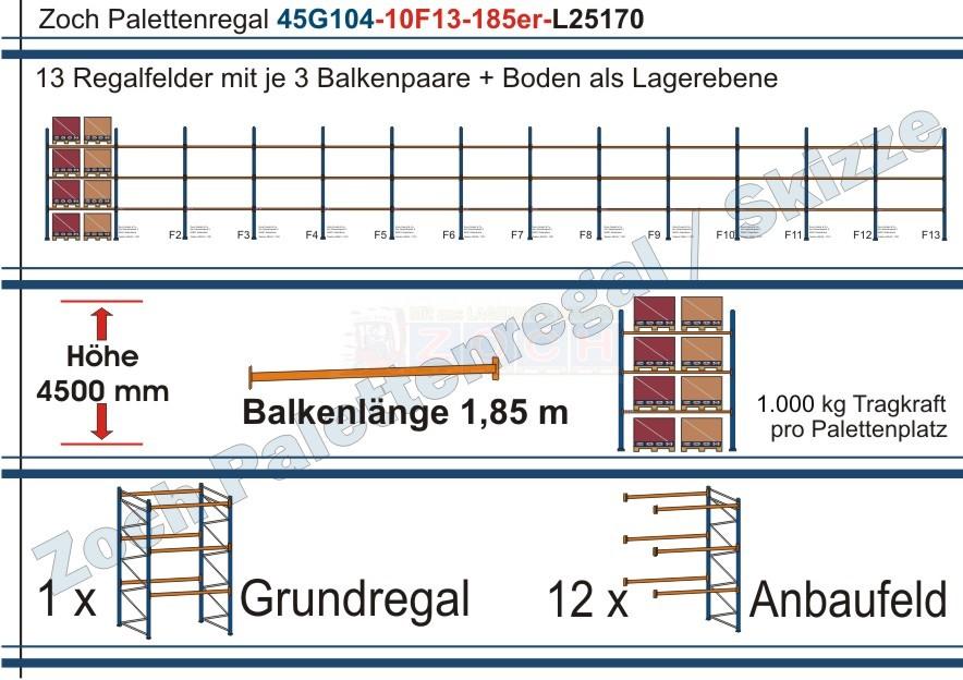 Palettenregal 45G104-10F13 Länge: 25170 mm mit 1000 kg je Palettenplatz