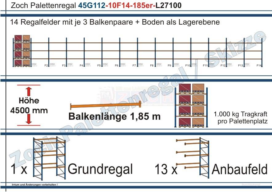 Palettenregal 45G112-10F14 Länge: 27100 mm mit 1000 kg je Palettenplatz