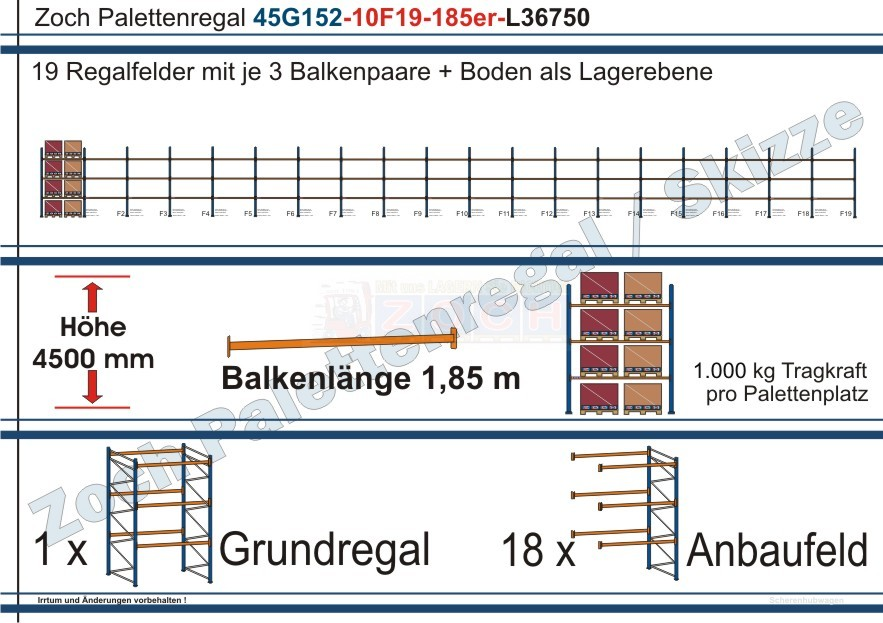 Palettenregal 45G152-10F19 Länge: 36750 mm mit 1000 kg je Palettenplatz