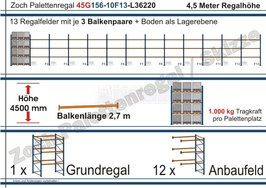 Palettenregal 45G156-10F13 Länge: 36220 mm mit 1000kg je Palettenplatz