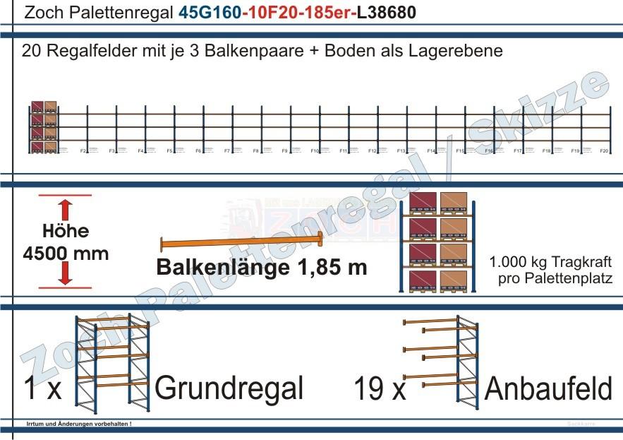 Palettenregal 45G160-10F20 Länge: 38680 mm mit 1000 kg je Palettenplatz