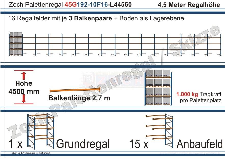 Palettenregal 45G192-10F16 Länge: 44560 mm mit 1000kg je Palettenplatz