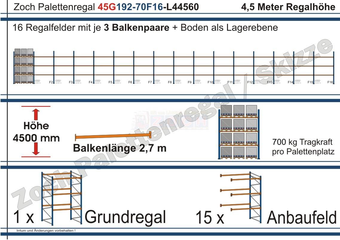 Palettenregal 45G192-70F16 Länge: 44560 mm mit 700kg je Palettenplatz