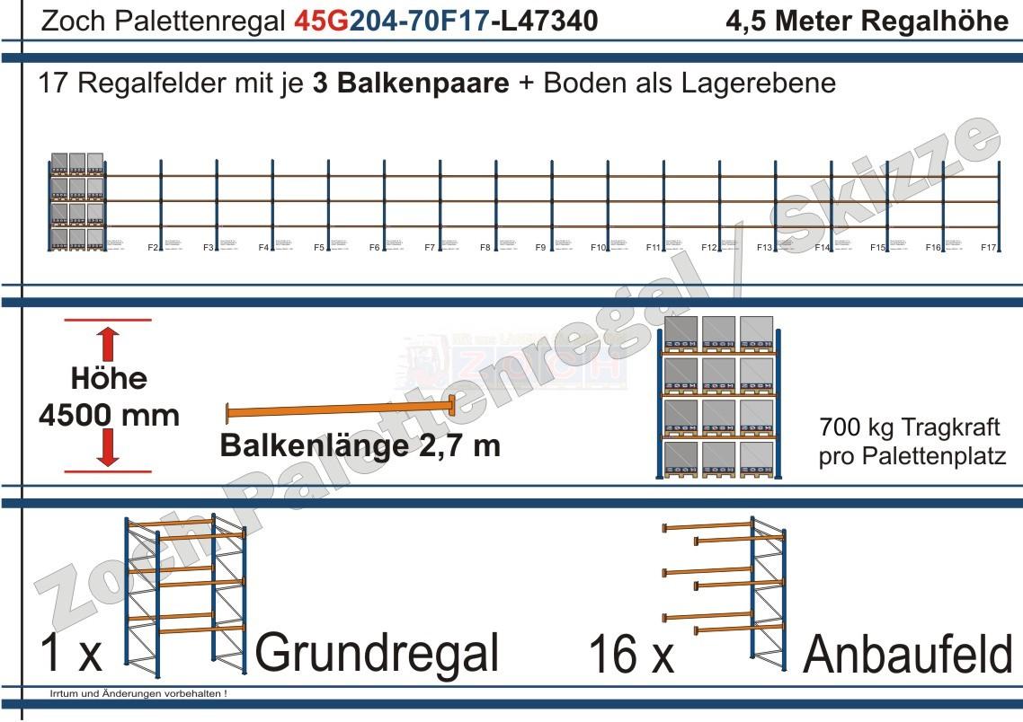 Palettenregal 45G204-70F17 Länge: 47340 mm mit 700kg je Palettenplatz