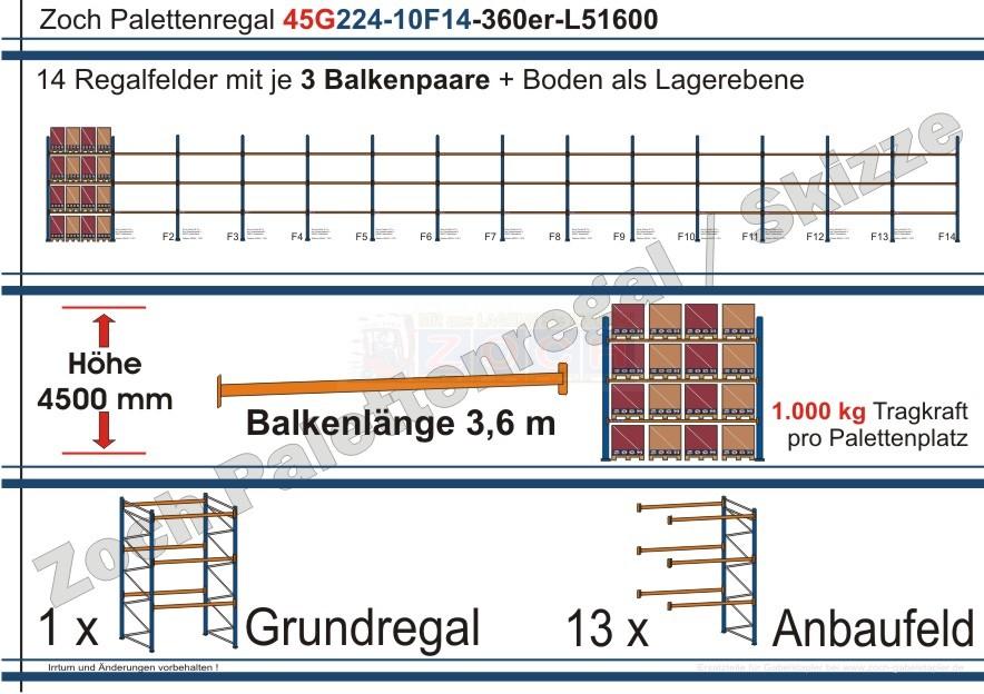 Palettenregal 45G224-10F14 Länge: 51600 mm mit 1000kg je Palettenplatz