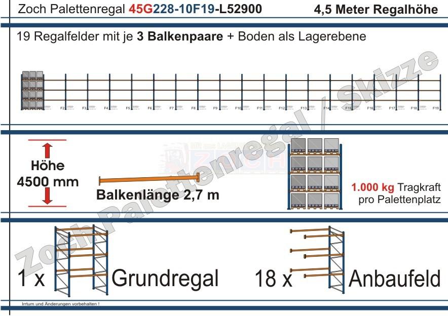 Palettenregal 45G228-10F19 Länge: 52900 mm mit 1000kg je Palettenplatz
