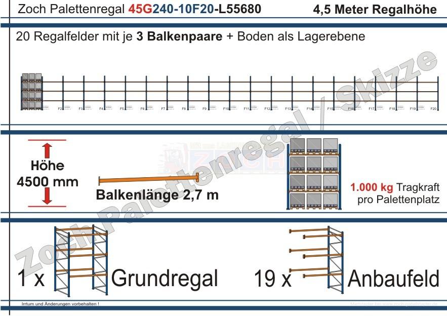 Palettenregal 45G240-10F20 Länge: 55680 mm mit 1000kg je Palettenplatz