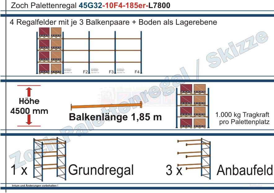 Palettenregal 45G32-10F4 Länge: 7800 mm mit 1000 kg je Palettenplatz