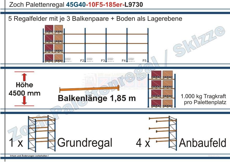 Palettenregal 45G40-10F5 Länge: 9730 mm mit 1000 kg je Palettenplatz