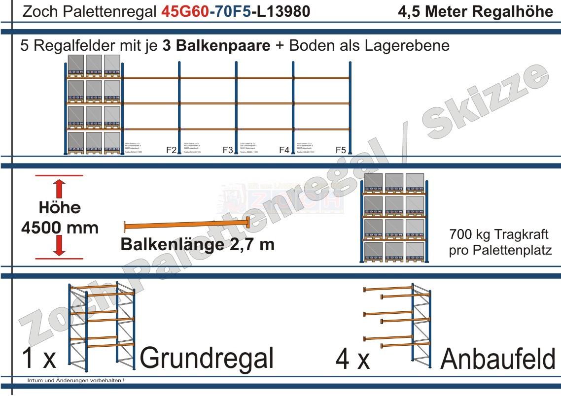Palettenregal 45G60-70F5 Länge: 13980 mm mit 700kg je Palettenplatz