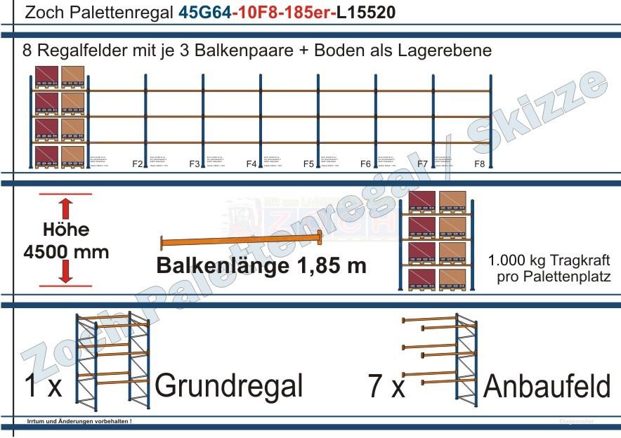 Palettenregal 45G64-10F8 Länge:15520 mm mit 1000 kg je Palettenplatz