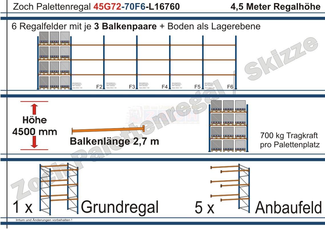 Palettenregal 45G72-70F6 Länge: 16760 mm mit 700kg je Palettenplatz
