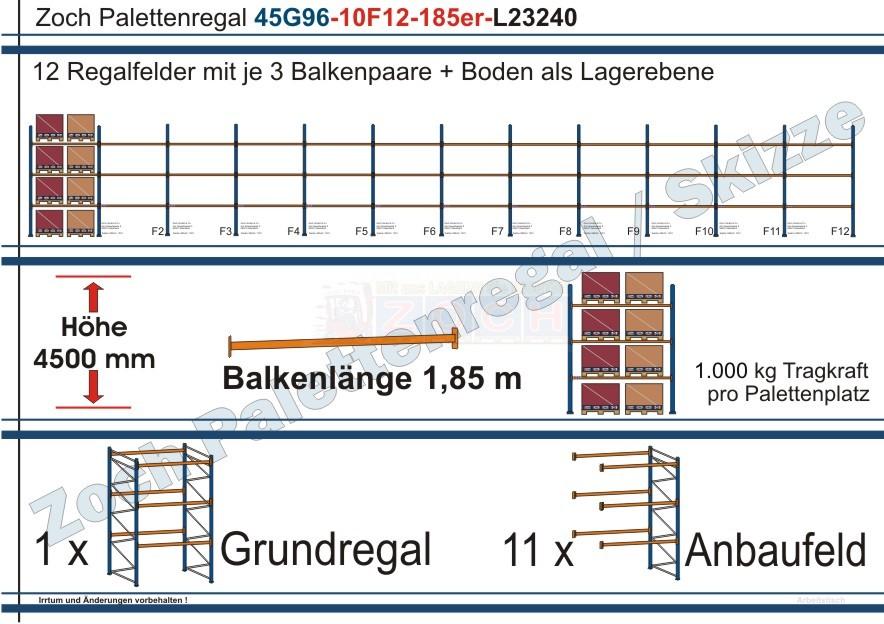 Palettenregal 45G96-10F12 Länge: 23240 mm mit 1000 kg je Palettenplatz