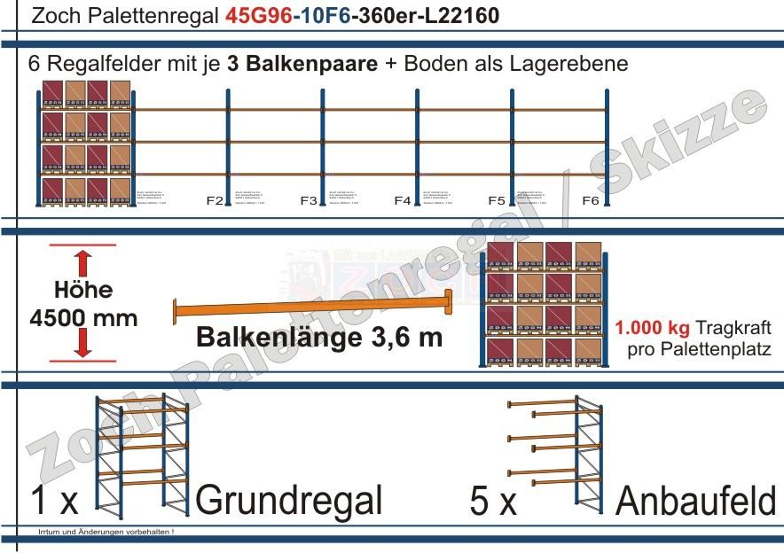 Palettenregal 45G96-10F6 Länge: 22160 mm mit 1000kg je Palettenplatz