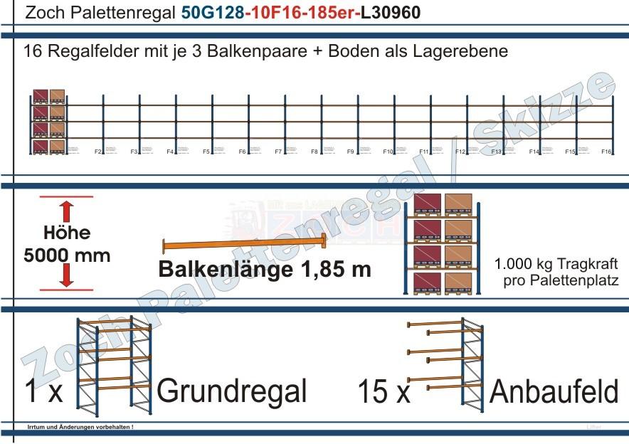 Palettenregal 50G128-10F16 Länge: 30960 mm mit 1000 kg je Palettenplatz