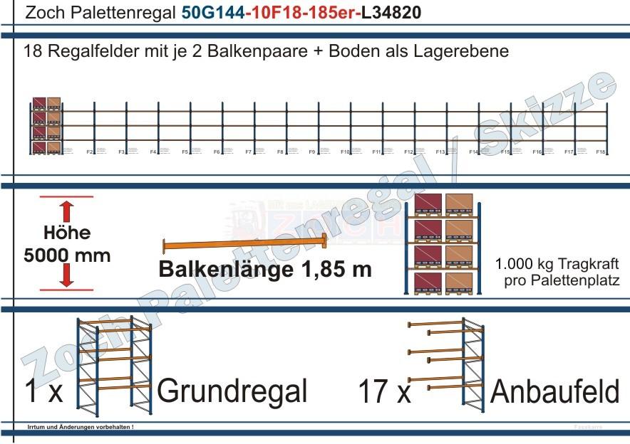 Palettenregal 50G144-10F18 Länge: 34820 mm mit 1000 kg je Palettenplatz
