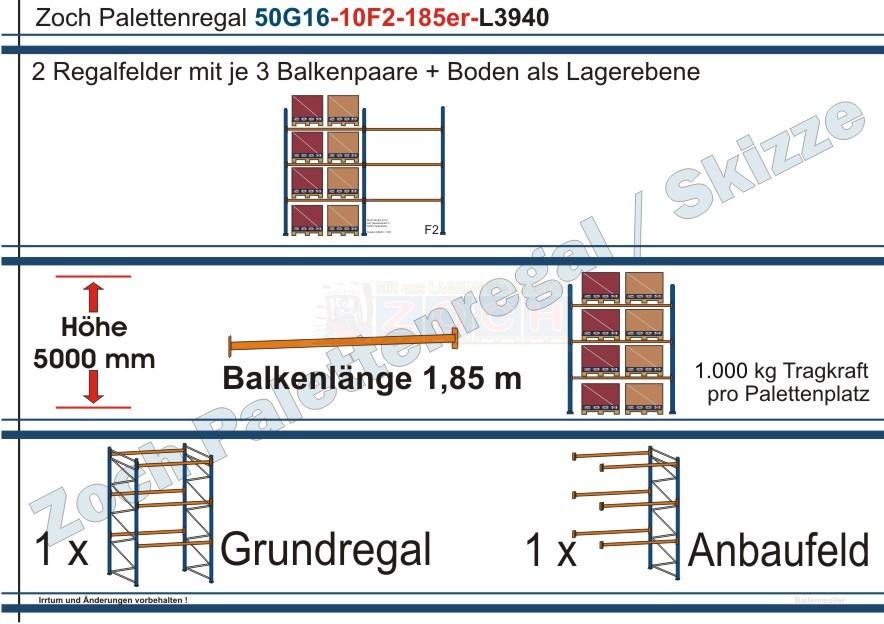 Palettenregal 50G16-10F2 Länge: 3940 mm mit 1000 kg je Palettenplatz