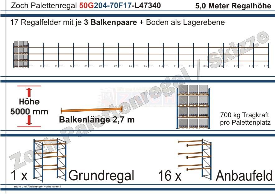 Palettenregal 50G204-70F17 Länge: 47340 mm mit 700kg je Palettenplatz