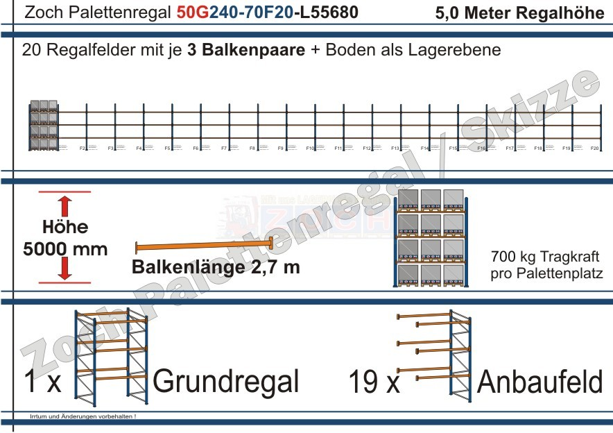 Palettenregal 50G240-70F20 Länge: 55680 mm mit 700kg je Palettenplatz