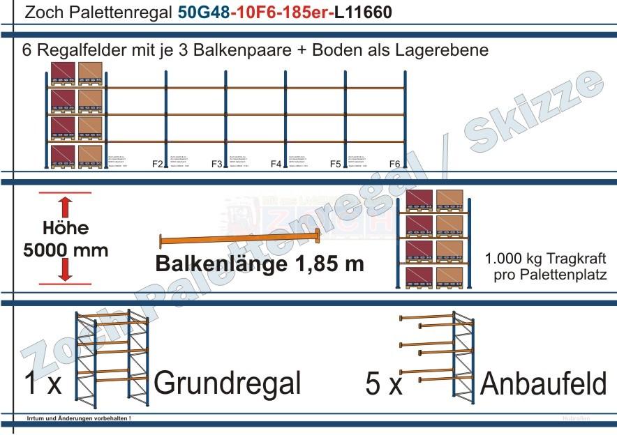 Palettenregal 50G48-10F6 Länge: 11660 mm mit 1000 kg je Palettenplatz