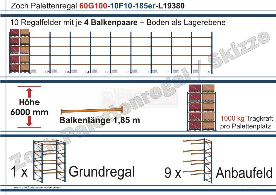 Palettenregal 60G100-10F10 Länge: 19380 mm mit 1000 kg je Palettenplatz