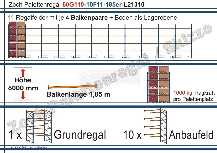 Palettenregal 60G110-10F11 Länge: 21310 mm mit 1000 kg je Palettenplatz