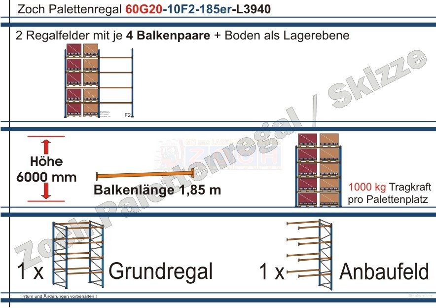 Palettenregal 60G20-10F2 Länge: 3940 mm mit 1000 kg je Palettenplatz