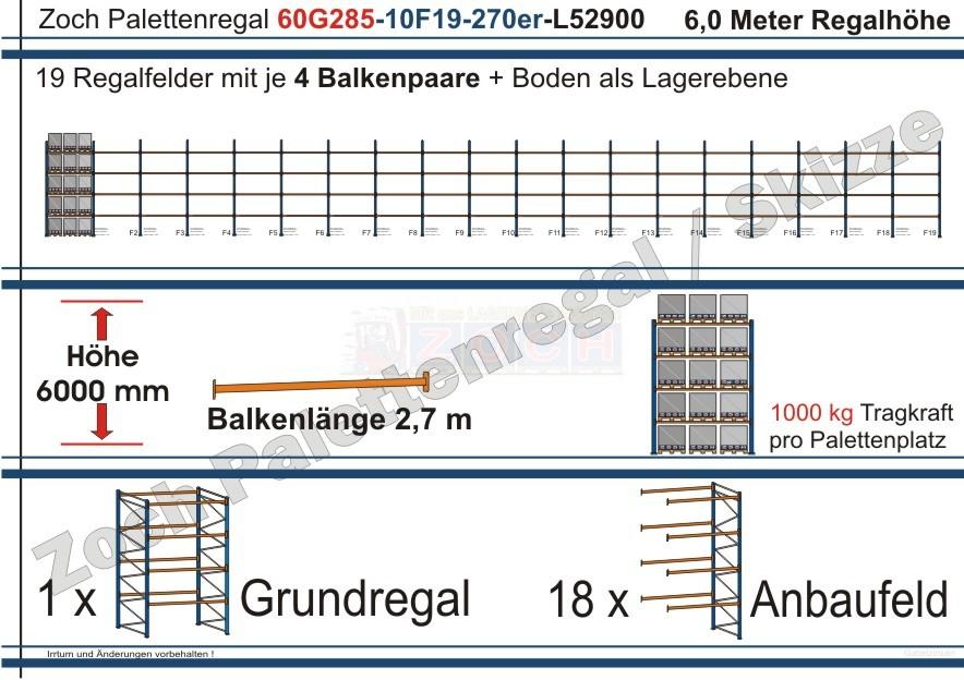 Palettenregal 60G285-10F19 Länge: 52900 mm mit 1000kg je Palettenplatz