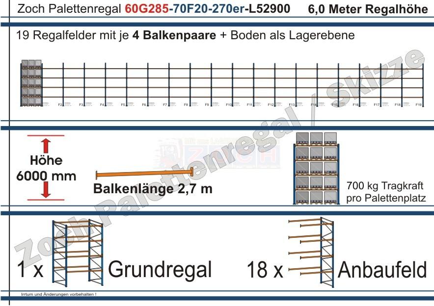 Palettenregal 60G285-70F19 Länge: 52900 mm mit 700kg je Palettenplatz