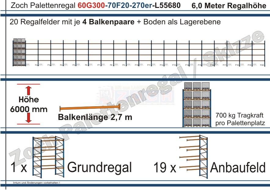 Palettenregal 60G300-70F20 Länge: 55680 mm mit 700kg je Palettenplatz