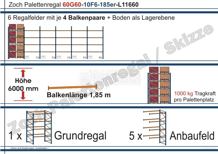 Palettenregal 60G60-10F6 Länge:11660 mm mit 1000 kg je Palettenplatz