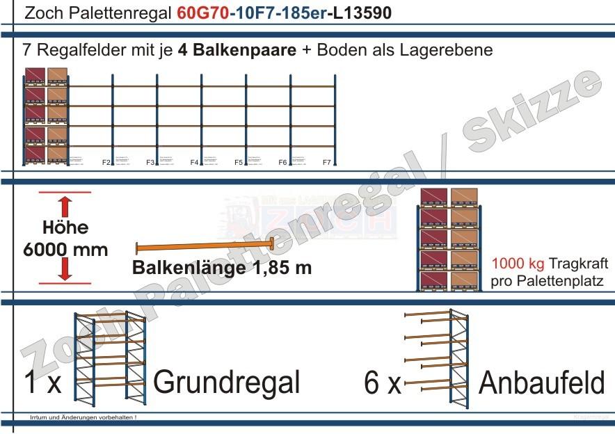 Palettenregal 60G70-10F7 Länge:13590 mm mit 1000 kg je Palettenplatz