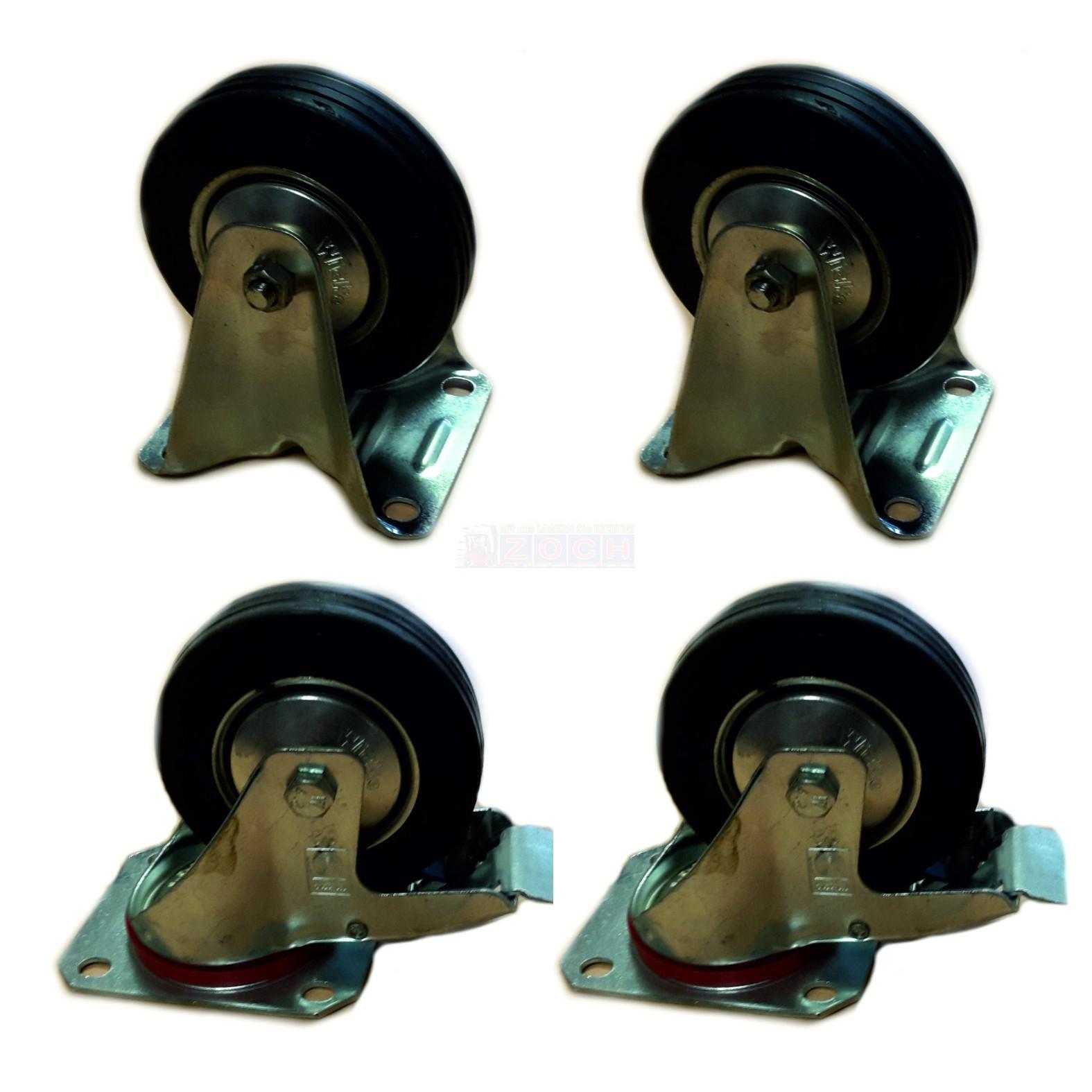 2 Lenkrollen mit Feststeller + 2 Bockrollen Set 100x30mm, Vollgummi-Bereifung