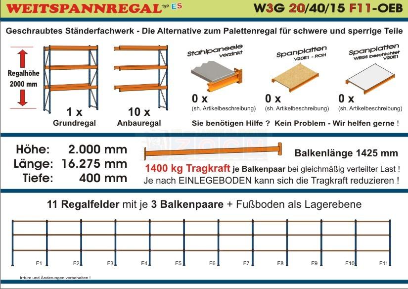 Weitspannregal W3G 20/40-15F11 Länge 16275 mm