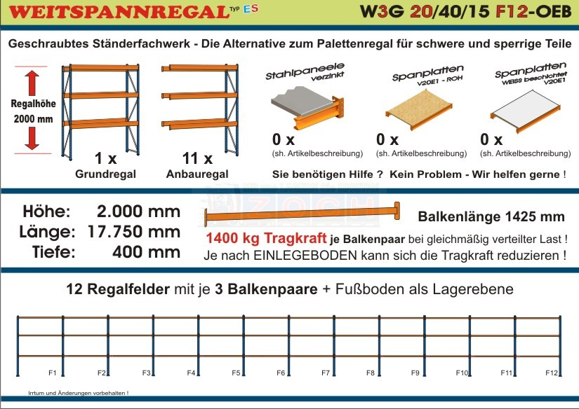 Weitspannregal W3G 20/40-15F12 Länge 17750 mm