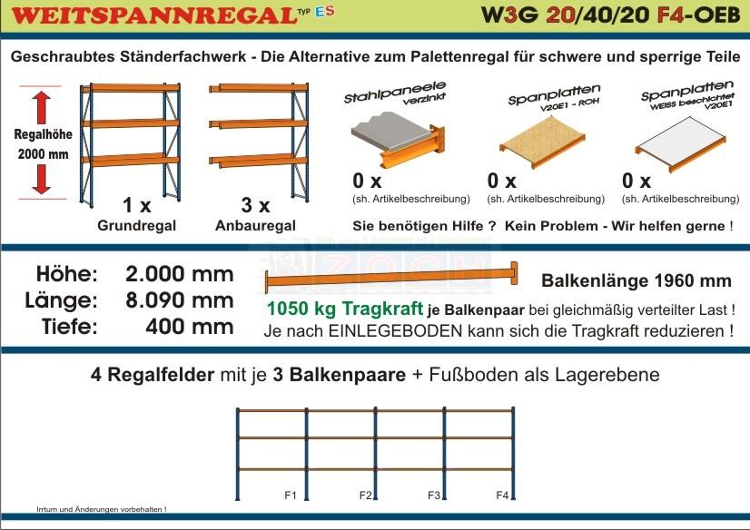 Weitspannregal W3G 20/40-20F4 Länge 8090 mm