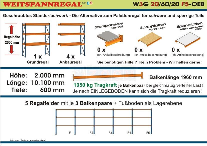 Weitspannregal W3G 20/60-20F5 Länge 10100 mm