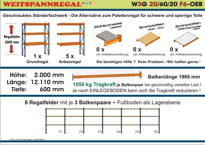 Weitspannregal W3G 20/60-20F6 Länge 12110 mm