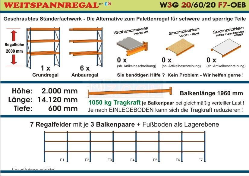 Weitspannregal W3G 20/60-20F7 Länge 14120 mm