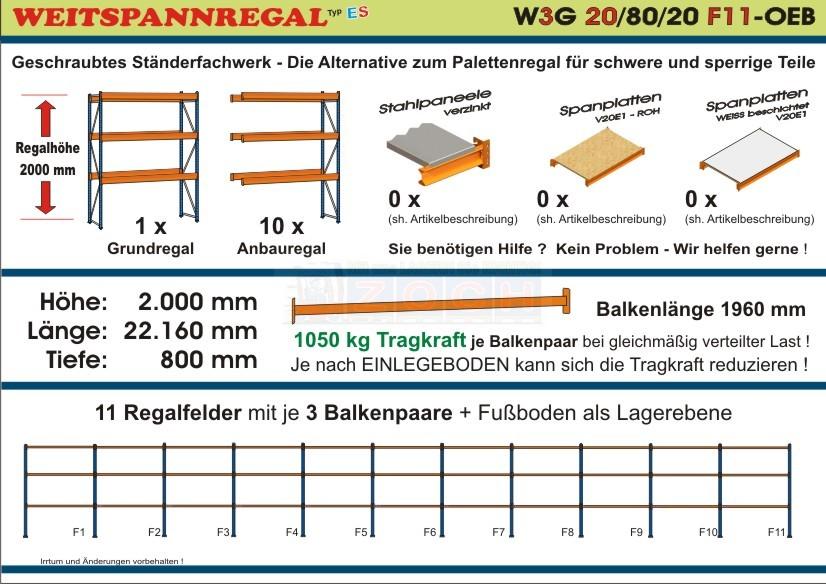 Weitspannregal W3G 20/80-20F11 Länge 22160 mm