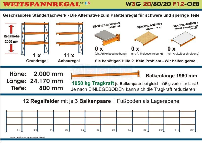 Weitspannregal W3G 20/80-20F12 Länge 24170 mm