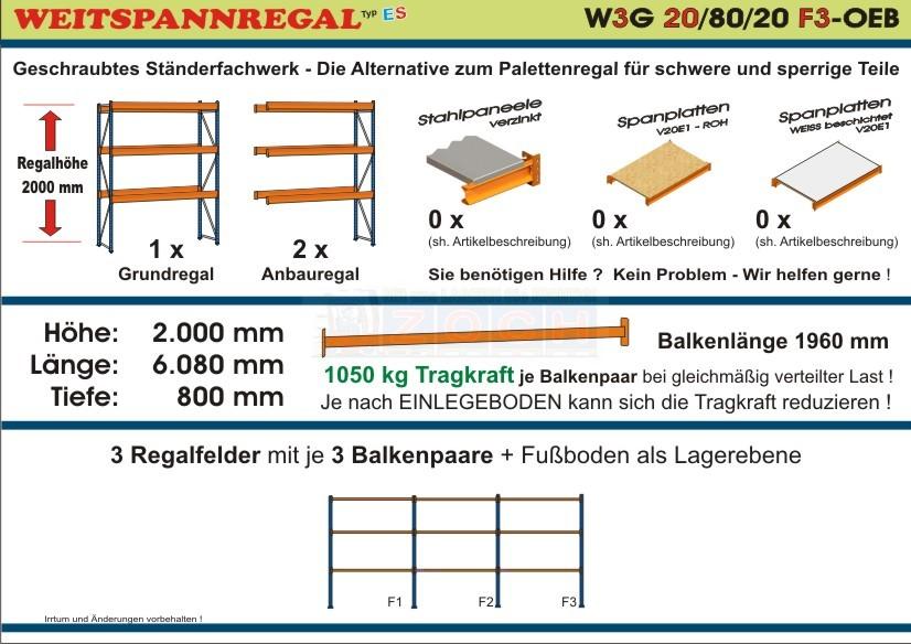 Weitspannregal W3G 20/80-20F3 Länge 6080 mm