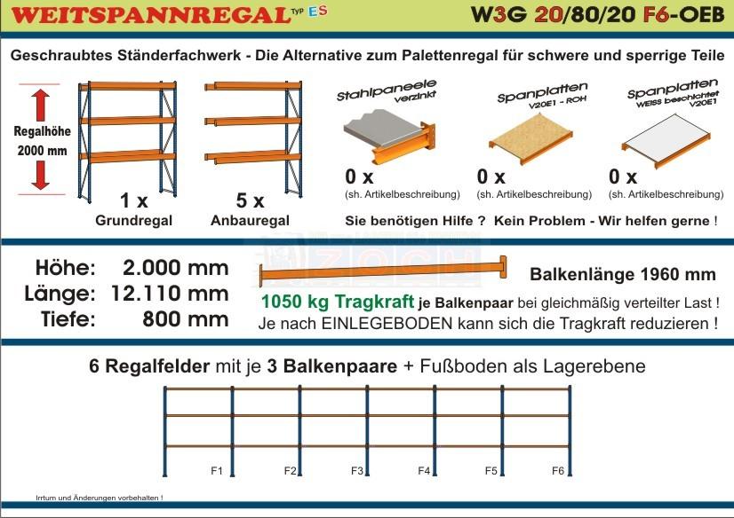 Weitspannregal W3G 20/80-20F6 Länge 12110 mm