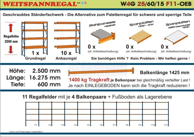 Weitspannregal W4G 25/60-15F11 Länge 16275 mm