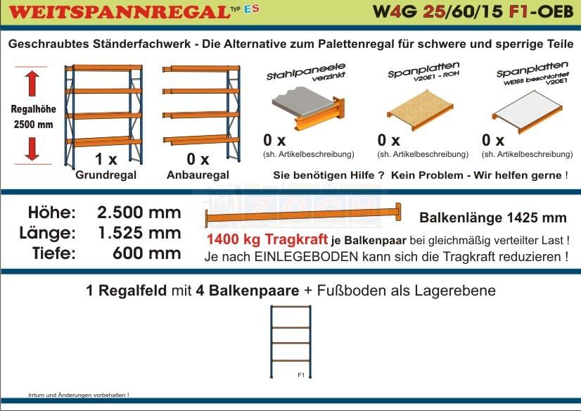 Weitspannregal W4G 25/60-15F1 Länge 1525 mm