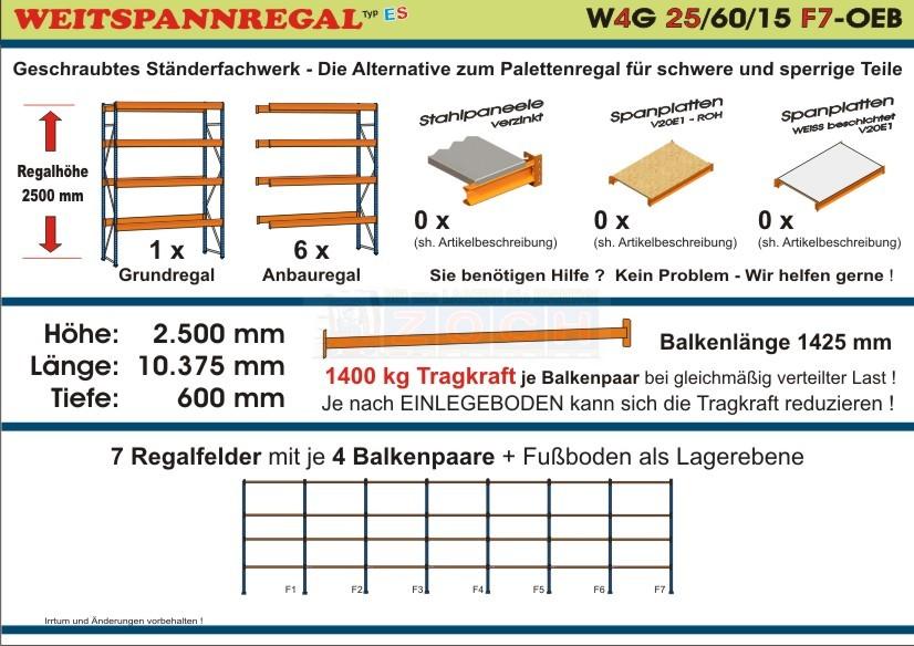 Weitspannregal W4G 25/60-15F7 Länge 10375 mm