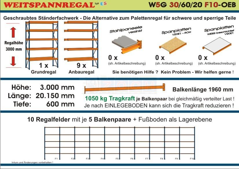 Weitspannregal W5G 30/60-20F10 Länge 20150 mm