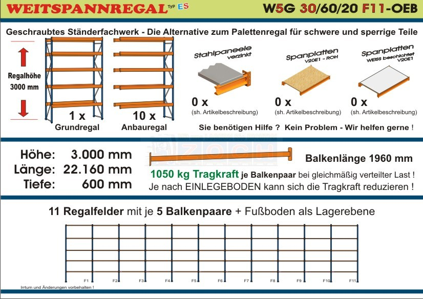 Weitspannregal W5G 30/60-20F11 Länge 22160 mm