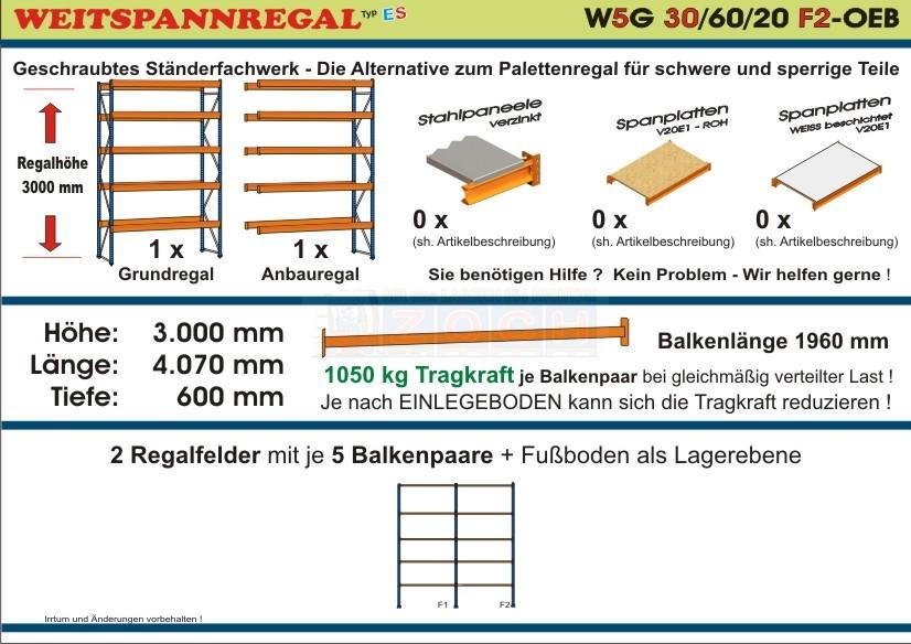 Weitspannregal W5G 30/60-20F2 Länge 4070 mm